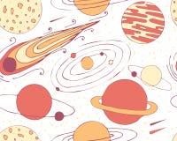 空间对象的无缝的样式 行星和彗星 免版税库存照片