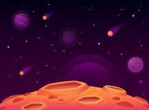 空间小行星表面 与火山口表面,空间行星的行星环境美化和彗星火山口动画片传染媒介 库存例证