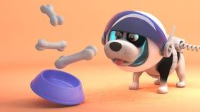 空间探险家狗穿在火星的太空服并且从失重食物碗,3d吃例证 皇族释放例证