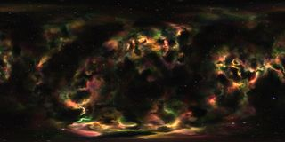 空间星云和星360度球状全景 免版税库存照片