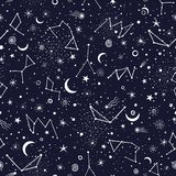 空间星系星座无缝的样式印刷品 向量例证