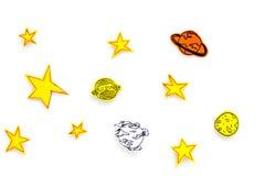 空间概念 拉长的星,行星,在白色外层空间背景顶视图的小行星 库存照片