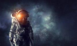 空间的宇航员探险家 混合画法 免版税库存照片