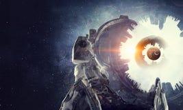 空间的宇航员探险家 混合画法 库存图片
