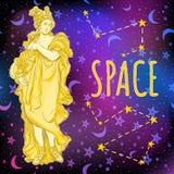 空间背景的美丽的希腊女神 古希腊的神话女英雄 外层空间传染媒介例证 免版税库存照片