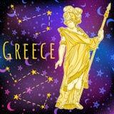 空间背景的美丽的希腊神 古希腊的神话女英雄 外层空间传染媒介例证 免版税图库摄影