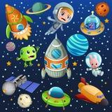 空间行星宇航员海报例证 库存图片