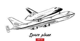 空间飞机手拉的剪影在白色背景在黑的隔绝的 详细的葡萄酒蚀刻样式图画 向量例证