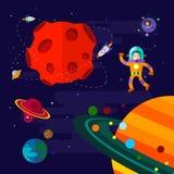 空间、太空飞船、宇航员和行星 免版税库存图片