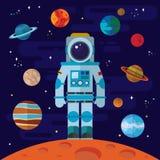 空间、宇航员和行星 免版税库存照片
