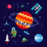 空间、宇航员和行星 库存图片