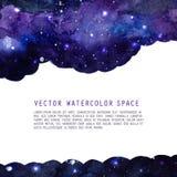 空间与星的水彩背景 与copyspace的传染媒介布局 库存照片