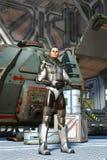 空间冒险家和太空飞船 皇族释放例证