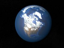 从空间加拿大的地球没有云彩 免版税库存图片