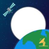 空间卫星循轨道运行在地球上 库存例证