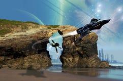 空间战斗机追求 皇族释放例证