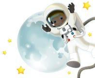 空间旅途-愉快和滑稽的心情-孩子的例证 库存图片
