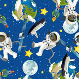 空间旅途-愉快和滑稽的心情-孩子的例证 库存照片