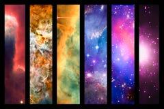 空间星云和星系彩虹拼贴画 免版税库存图片