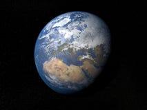 从空间欧洲的地球与云彩 免版税库存图片
