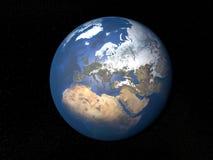 从空间欧洲的地球没有云彩 库存照片