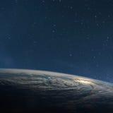 从空间的行星地球在晚上 库存照片