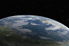 从空间的行星地球在美好的日出 免版税库存图片