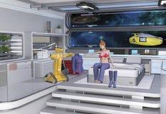 空间站的女太空人与机器人 免版税库存照片