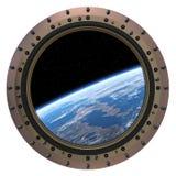 空间站舷窗。 免版税库存照片