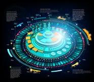 空间背景或infographic hightech未来派的接口 库存照片