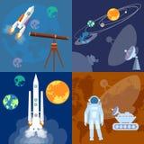 空间项目:宇航员,火箭,行星,斯布尼克毁损流浪者 免版税库存图片