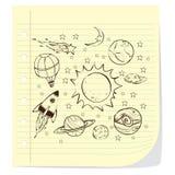空间题材乱画,在被排行的便条纸 库存例证