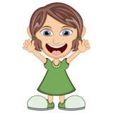 穿一件绿色礼服的小女孩 库存照片