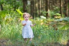穿一件白色礼服的女婴在晴朗的秋天公园 免版税库存照片