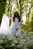 穿一件白色礼服的美丽的妇女站立在森林里 免版税图库摄影