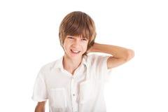 青少年的男孩画象  免版税库存照片