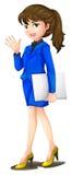穿一件蓝色制服的办公室秘书 免版税库存图片