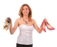 穿上鞋子决策 免版税库存照片