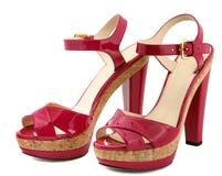 穿上鞋子妇女 免版税图库摄影