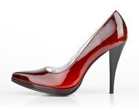 穿上鞋子妇女 库存照片