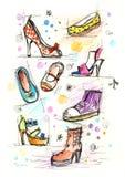 穿上鞋子概略 库存图片
