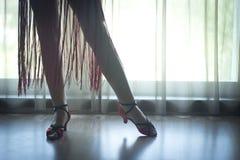 穿上鞋子脚腿女性舞厅舞老师舞蹈家 免版税库存照片