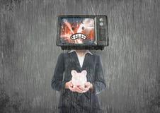 穿上` t有金钱 3d动画片题头例证回报了电视 库存例证