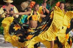 穿五颜六色的礼服的人们执行传统克里奥尔人的世嘉公司舞蹈在日落在Ville瓦利奥,毛里求斯 免版税库存照片