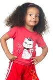 穿五颜六色的衣裳的小美国黑人的女孩 库存图片