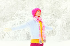 穿五颜六色的被编织的帽子围巾的时尚冬天愉快的微笑的妇女享用在多雪的背景 免版税库存照片