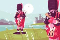 穿传统礼服的苏格兰人吹风笛者 皇族释放例证