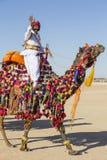 穿传统Rajasthani礼服的骆驼和印地安人参加先生 作为沙漠节日一部分的沙漠比赛在Jaisalme 库存照片