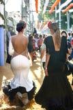 穿佛拉明柯舞曲礼服的美丽的时尚妇女 西班牙民间传说 图库摄影