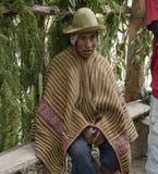 穿典型的安地斯山的长袍的一个当地秘鲁人的画象 免版税库存照片